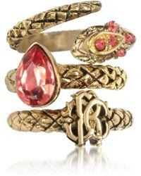 Roberto Cavalli | Goldtone Metal Triple Ring W/red Crystals | Lyst