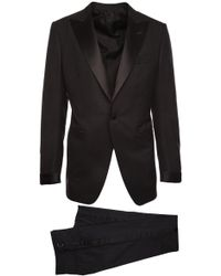 Tom Ford - Black Smoking Dress In Mixed Wool With Satin Revers And Trousers With Straps - Lyst