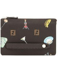 86a792f33c66 Fendi - Clutch Brown Leather Pouch With Ff Logo And Everyday Designs - Lyst