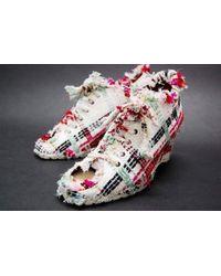 Chanel | 04p Tweed Open-toe Wedgesole Heels White X Multi-color | Lyst