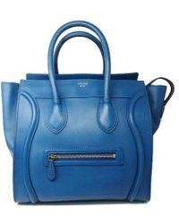 Céline | Mini Luggage Handbag Blue Calf Skin Leather | Lyst