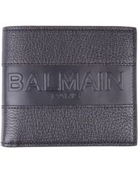 Balmain - Black Wallet In Hammered Goatskin With Embossed Logo On The Front - Lyst