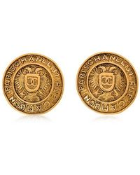 Chanel - Pre-owned Round Medallion Clip On Earrings - Lyst