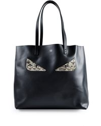 Fendi - Roll Moster Black Leather Tote - Lyst 1b5aa9148af0e