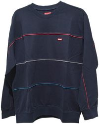 Supreme - Long Sleeve 17 Aw Multicolor Piping Pique Crewneck Tops Others Navy - Lyst