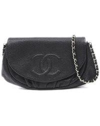 Chanel - Half Moon Chain Wallet Wallet Pochette Soft Caviar Skin Black -  Lyst 197f5a7739