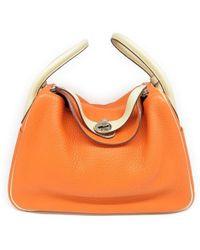 Hermès - Clemence Leather Lindy 30 Satchel Bag Orange/ Craie 5867 - Lyst