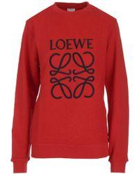 Loewe - Red Reversed Anagram Sweatshirt - Lyst