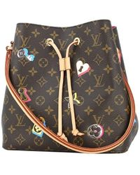 67449a698a65 Louis Vuitton - Neo-noe Monogram Love Lock Pink Brown Bucket Bag Shoulder  Bag