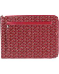 Goyard - Sorbonne Chevron Pvc Leather Document Case Red Purse 90038734.. - Lyst