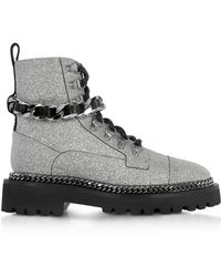 Balmain - Chain And Glitter Leather Army Boots - Lyst