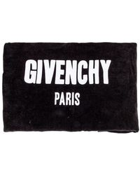 Givenchy - Black Beach Towel In Cotton With White Embroidered Brand Logo - Lyst
