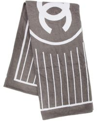 Chanel - Gray And White Beach Towel ; - Lyst