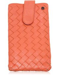 Bottega Veneta - Intrecciato Pouch Mini Case Cover Men's Iphone Smartphone Sumaho Android Iphone Case Orange Leather - Lyst