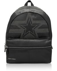 Jimmy Choo - Reed Black Leather Large Backpack W/studded Star - Lyst