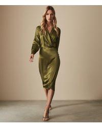 Reiss - Renae Satin Wrap Over Dress - Lyst