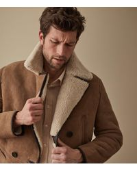 Reiss - Brodie - Shearling Double Breasted Coat - Lyst