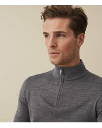 711af5bb47f0 Reiss - Blackhall - Merino Wool Zip Neck Jumper - Lyst