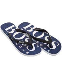 ca61c19807539 BOSS Athleisure - Wave Sandal Logo Navy Blue Thong Flip Flops - Lyst