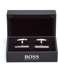 BOSS Black - Jammison Bar Shaped Polished Silver Cufflinks - Lyst