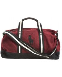 Hot Ralph Lauren - Polo Player Striped Wine Red Gym Bag - Lyst 414e441fa73b2