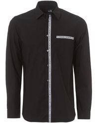 Love Moschino - Repeat Tape Logo Regular Fit Black Shirt - Lyst
