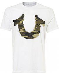 True Religion - Camouflage Logo T-shirt, White Regular Fit Tee - Lyst