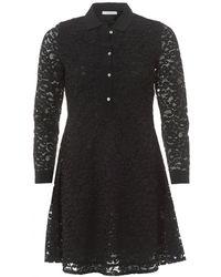 I Blues - Black Lace Collared Long Sleeve Shirt Dress - Lyst