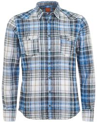 BOSS by Hugo Boss - Erodeo Slim Fit Western Checked Blue Shirt - Lyst