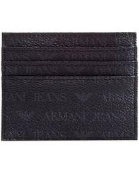 Armani Jeans - Logo Patterned Black Card Holder - Lyst