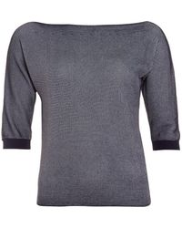 Armani Jeans - Slash Neck Jumper, Striped Black White Top - Lyst