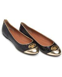 Emporio Armani - Python Effect Shoes, Black Ballet Court Shoes - Lyst
