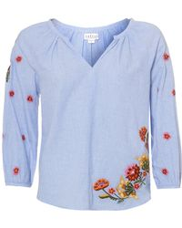 Velvet By Graham & Spencer - Arabelle Tunic, Blue Embroidered Top - Lyst