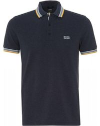 BOSS - Paddy Polo, Regular Fit Navy Blue Melange Polo Shirt - Lyst