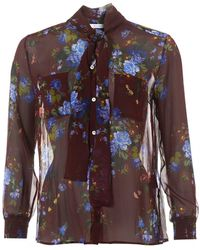 I Blues - Floral Shirt, Silk Bow Neck-tie Blouse - Lyst