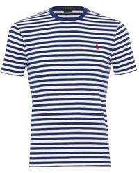 Ralph Lauren - Striped T-shirt, Crew Neck Blue White Tee - Lyst