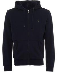 Ralph Lauren - Plain Hoodie, Zip Through Navy Blue Hooded Sweatshirt - Lyst