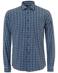 BOSS - Epop Checked Multi Dotted Slim Fit Blue Shirt - Lyst