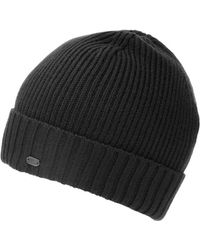 BOSS Green | C-fati2 Beanie, Ribbed Wool Black Hat | Lyst