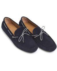 BOSS - Driver_mocc_sdlc Moccasins, Navy Blue Suede Shoes - Lyst