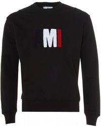 AMI - Tri Colour Logo Sweatshirt, Black Crew Neck Sweat - Lyst