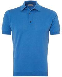 John Smedley - Adrian Polo Shirt, Sea Island Cotton Buttondown Blue Polo - Lyst
