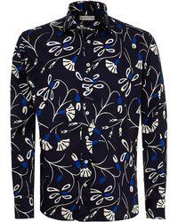 Etro - Abstract Floral Print Shirt, Regular Fit Navy Blue Shirt - Lyst