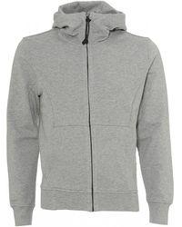 C P Company - Zip Up Hoodie, Goggle Hood Gray Sweatshirt - Lyst