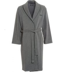 BOSS - Grey Shawl Herringbone Dressing Gown - Lyst