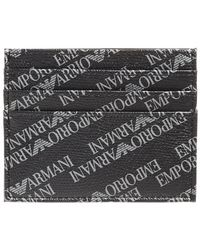 Emporio Armani - All Over Print Black Card Holder Wallet - Lyst