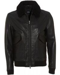 BOSS - Gordani Black Leather Bomber Jacket - Lyst