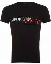 Emporio Armani - Faded Text Logo T-shirt, Black Slim Fit Tee - Lyst