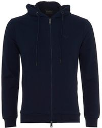 Emporio Armani - French Terry Zip Hoodie, French Blue Hooded Sweatshirt - Lyst