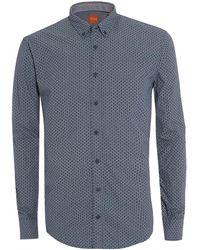 BOSS by Hugo Boss - Edipoe Blue Geometric Print Slim Fit Shirt - Lyst